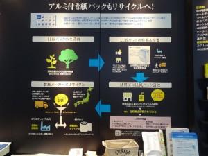 アルミ付紙パックのリサイクルについてパネル展示